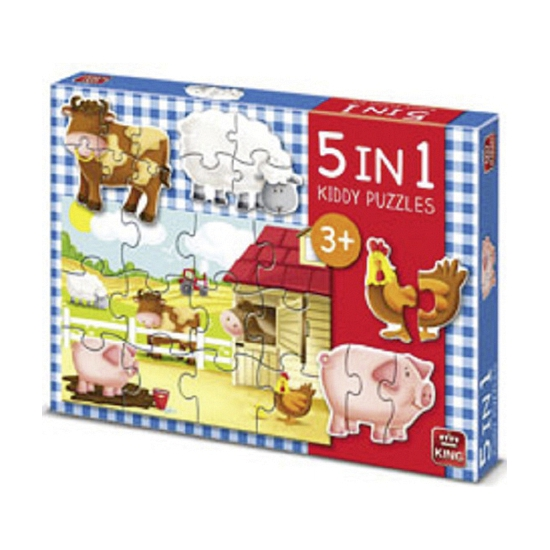 Boerderij puzzels 5 in 1. kinder puzzel met plaatjes van boerderij dieren 5 stuks in 1 doos. de puzzels zijn ...