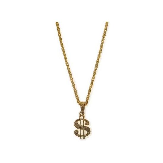 Fraaie gouden dollar ketting. deze plastic dollar ketting in het goud is goed te combineren met onze pimp, ...
