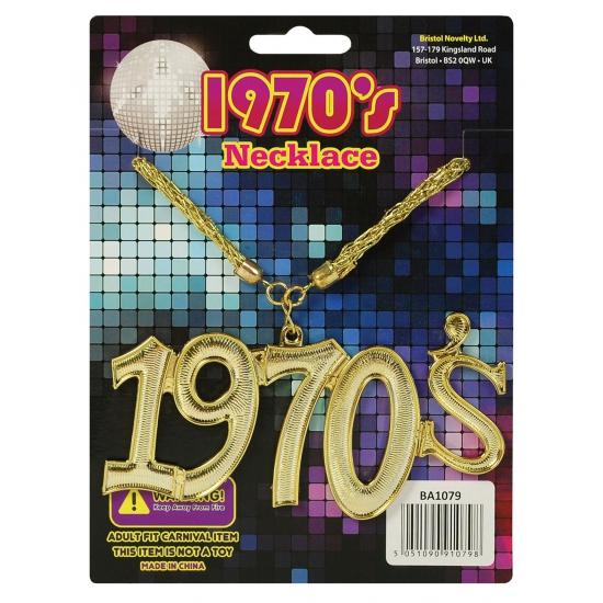 Disco seventies ketting 1970. goudkleurige ketting met de letters 1970s. ideaal om uw disco outfit compleet ...