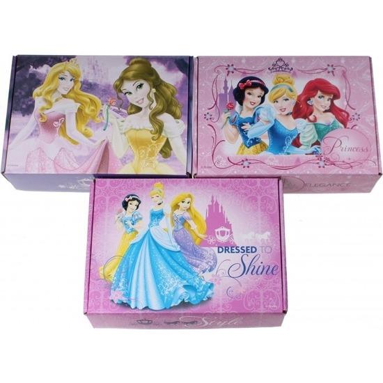 3x Kartonnen opbergboxen-opbergdozen Assepoester-Ariel-Belle-Doornroosje-Sneeuwwitje