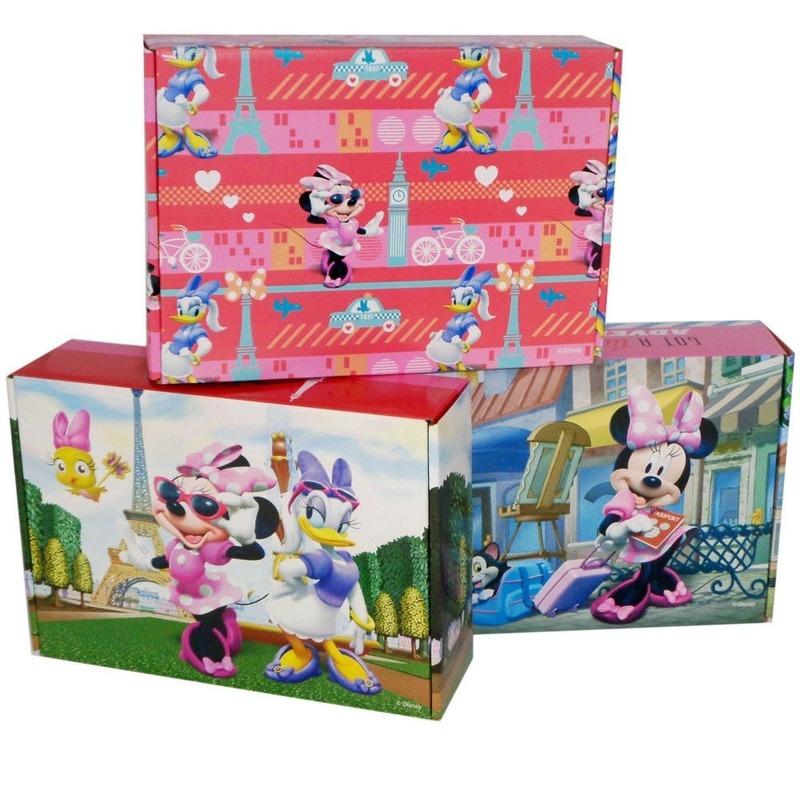 3x Kartonnen opbergboxen-opbergdozen Minnie Mouse-Katrien Duck