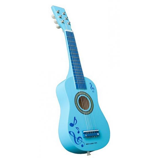 Blauwe speelgoed gitaar