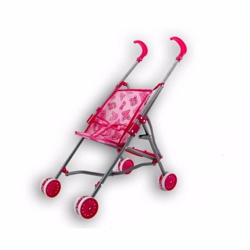 Buggy voor poppen roze met beertjes