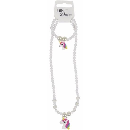 Meisjes sieraden setje wit met eenhoorn. kralen ketting en armband in de kleur wit. de ketting en armband ...