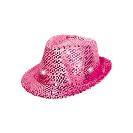 Glitter hoed roze met LED verlichting