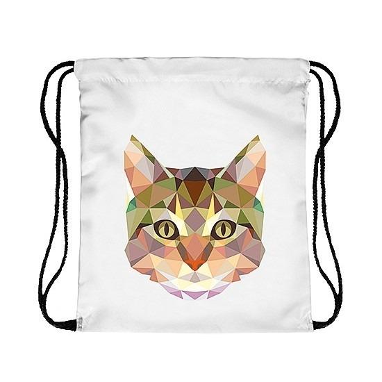 Rugtas met rijgkoord en kat/poes print. rugtas met print van een kat afgebeeld in geometrische vormen. de ...
