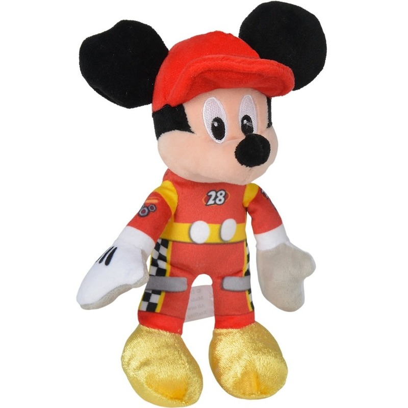 Pluche Mickey Mouse racing Disney knuffels 17 cm