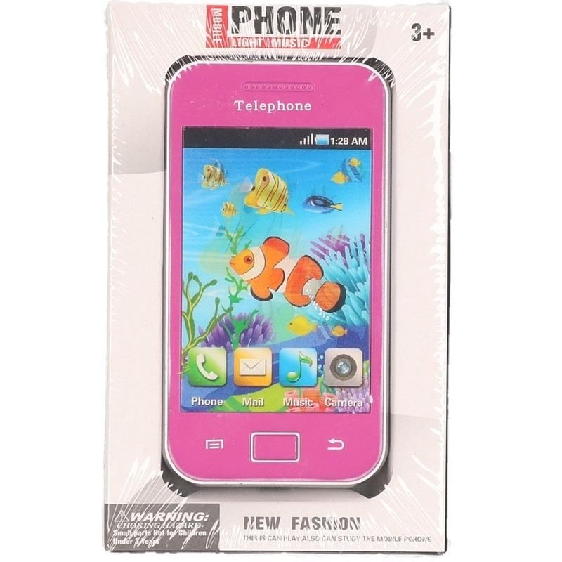 Roze speelgoed telefoon voor kinderen