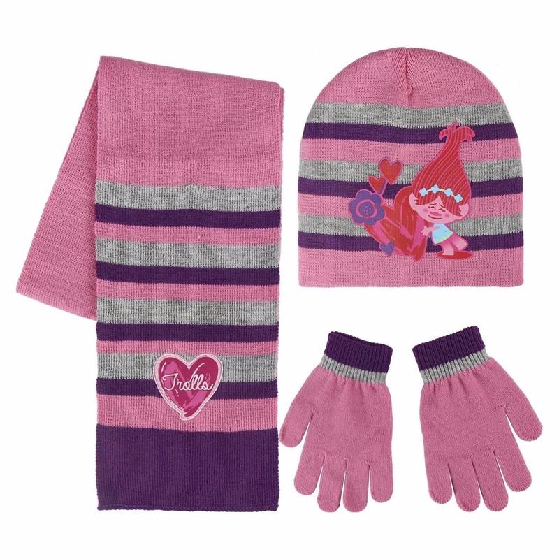 Roze Trolls Poppy winter accessoires set voor meisjes