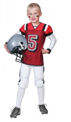 Rugby kostuum rood met wit voor kids
