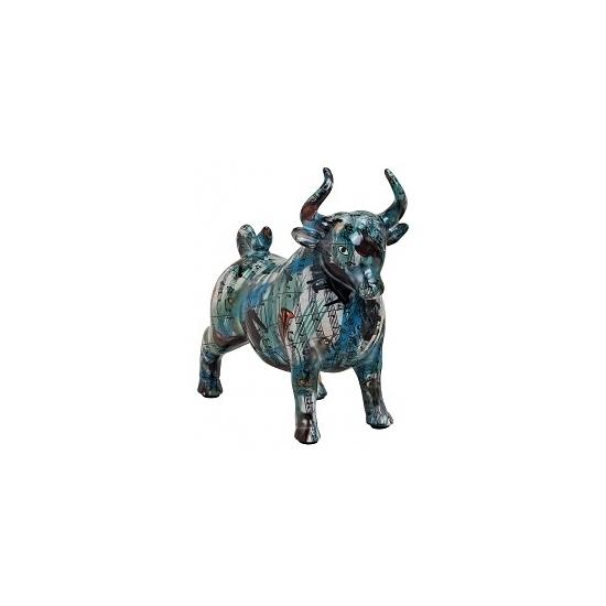Spaarpot blauwe stier met muziekinstrumenten