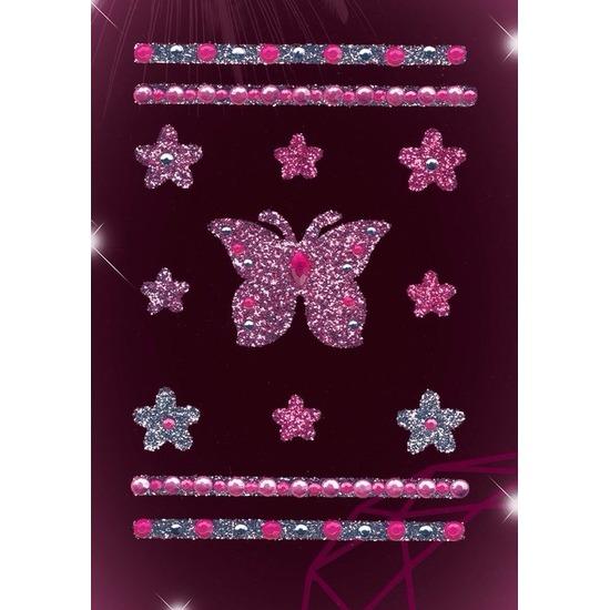 Stickers met glitter vlinders