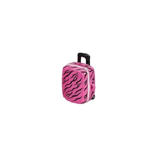Trolley spaarpot roze met zwart