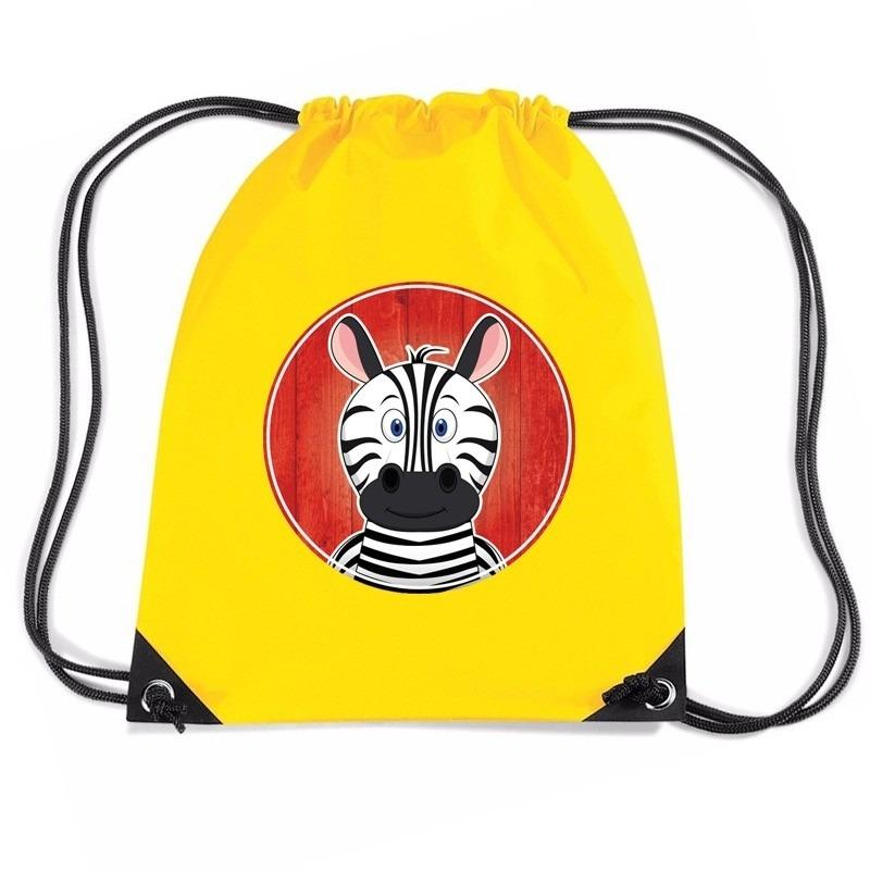 453d91c47361b2 Zebra rugtas / gymtas geel voor kinderen. dit gele rugzakje is bedrukt met  een vrolijke