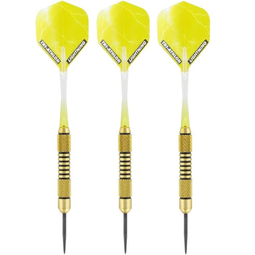 1x Set van dartpijltjes Speedy Yellow Brass met Metallic Lightning flites 19 grams